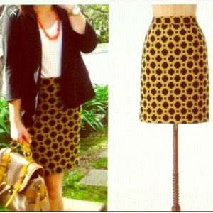 Anthropologie blue/gold tiled quilted skirt size 6